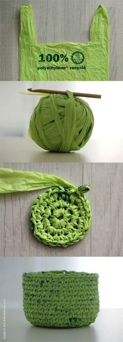 Croche de sacola de plástico