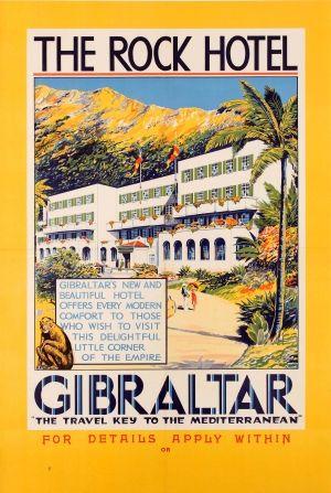 Gibraltar The Rock Hotel 1930s - original vintage poster listed on AntikBar.co.uk