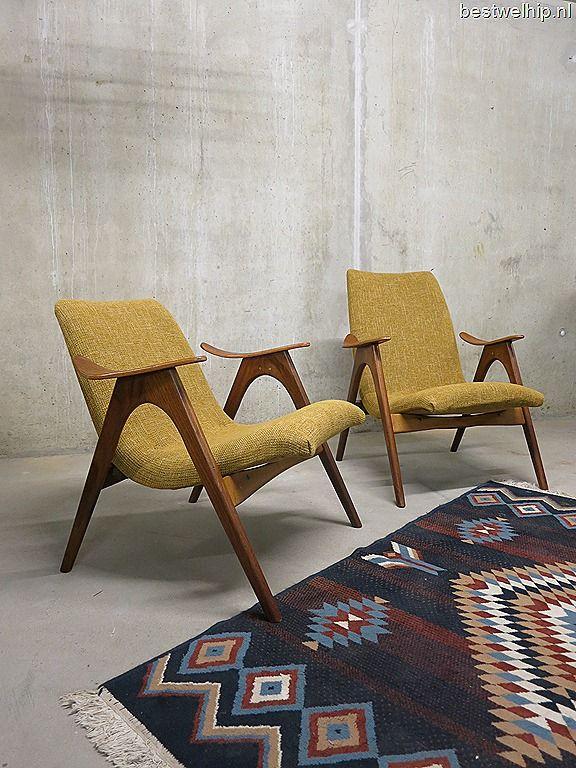 Geweldige stoelen! Mid century design lounge chairs Danish style Webe Louis van Teeffelen