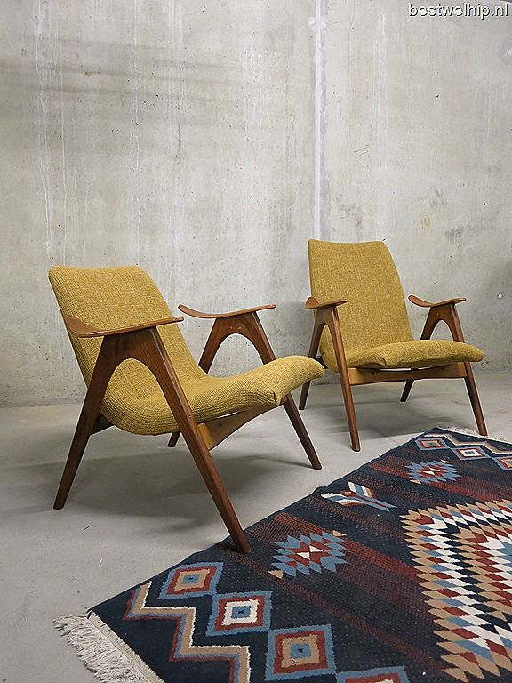 Mid century design lounge chairs Danish style Webe Louis van Teeffelen