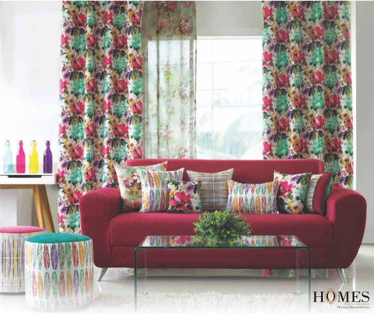 Using bright & vibrant draperies can transform your room into a dazzling array of colours almost like a rainbow during monsoons! Explore our new collections at www.homesfurnishings.com #Draperies #Colours #Decor #HomesFurnishings #DraperyDesigns #CurtainDesigns #UpholsteryDesigns