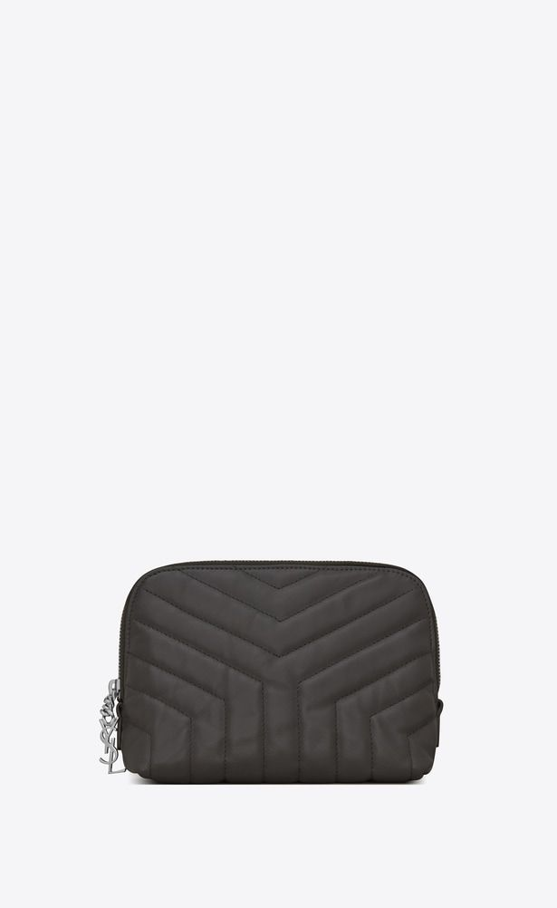 8369a8cfcdd8 SAINT LAURENT Loulou SLG Woman LOULOU makeup bag in shiny asphalt gray  leather with