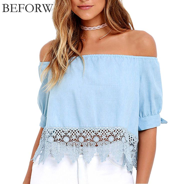 BEFORW 2017 New Fashion Women Blouses Sexy Off Shoulder Hook Flower Hollow Lace Blouse Tops Summer Casual Club Plus Size Shirts
