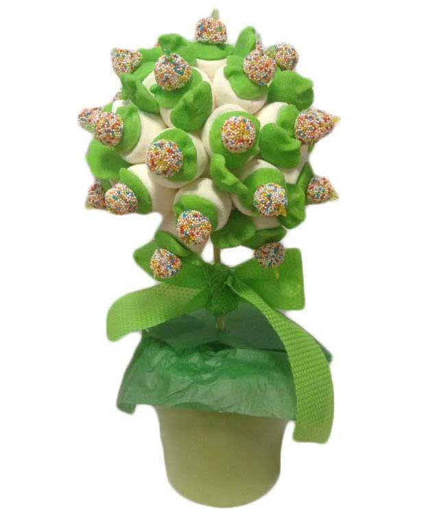 Arbol de chuches verde compuesto por mini brochetas de - Macetas de chuches ...