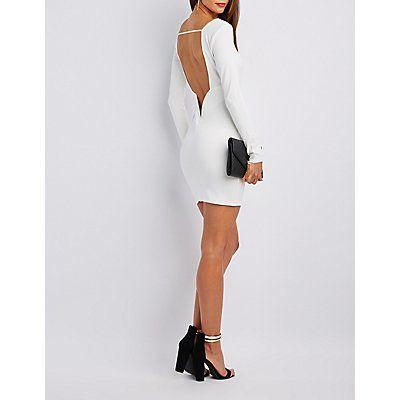 White Plunge Open Back Bodycon Dress - Size L