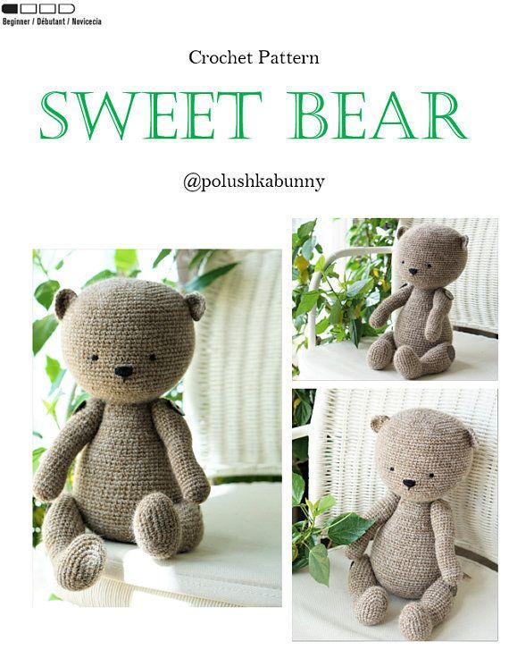 Crochet pattern Sweet Teddy Bear Toy pdf US DE