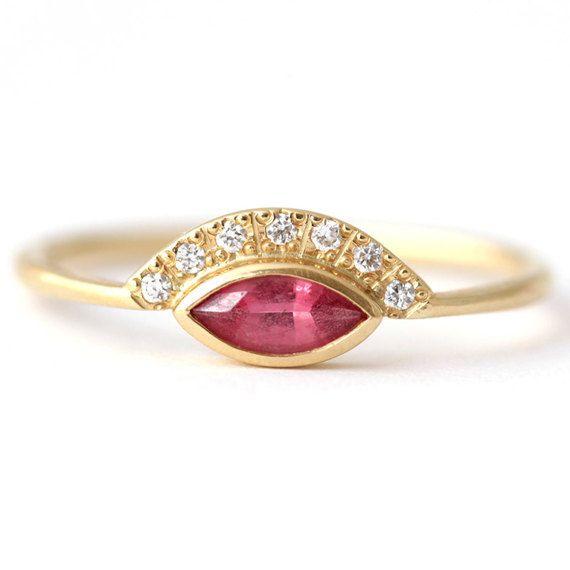 Pink Spinel Engagement Ring, Gold Spinel Ring, Alternative Engagement Ring, Pink Engagement Ring, Marquise Cut Ring, Pink Gemstone Ring