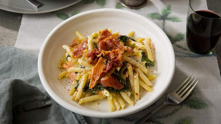 Simple, fast and fishy: Karen Martini's pennette with smoked trout, creme fraiche, spinach and pancetta is healthy and easy to throw together.