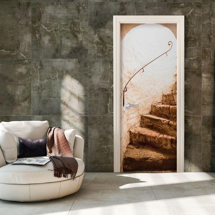 Tapeta na drzwi z motywem schodów w stylu vintage