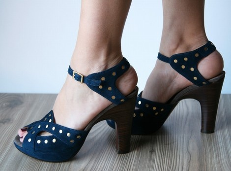 blue suede studded shoes! chie mihara is in the house!