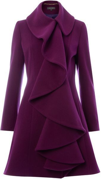 Ruffle Front Coat- gorgeous color and detail. Love ruffles ❤️