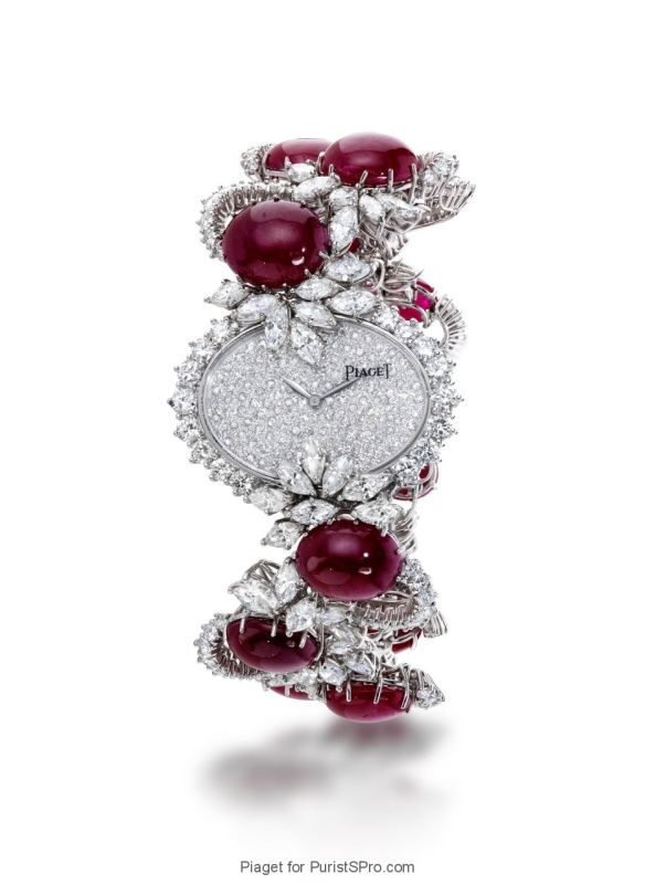 High jewelery watch with caliber 9P (rubies and diamonds decorate the timepiece).