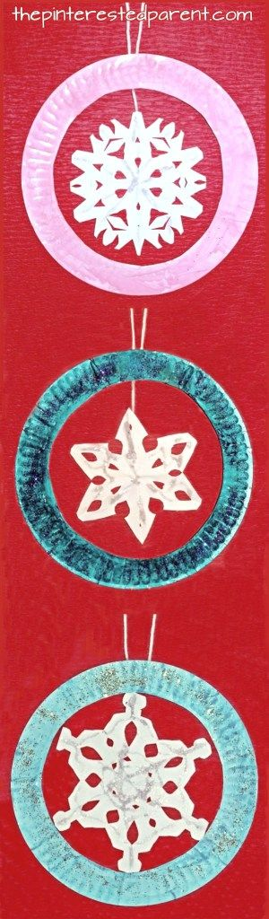 giant paper plate snowflake ornaments for the winter. Christmas crafts for kids and preschoolers.