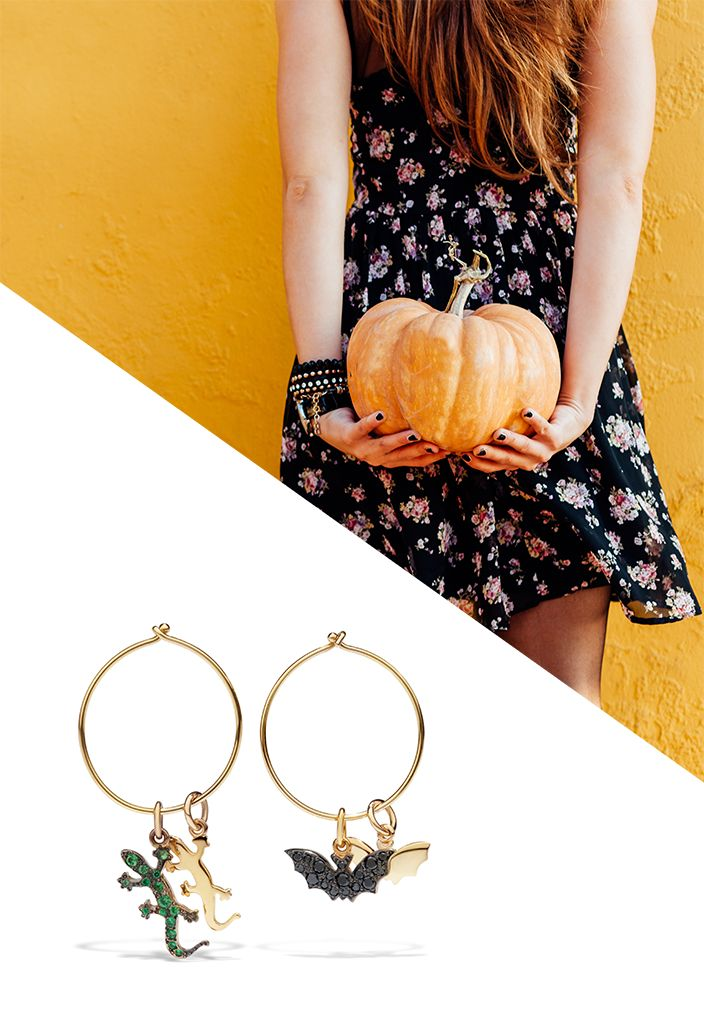 """Decide to give a your """"scary"""" outfits a touch of style with the yellow gold and black diamonds Bat charm and the yellow gold and tsavorites Gecko charm."""