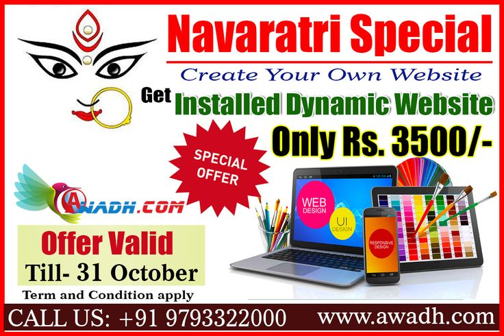 #Navaratri #Special #Offer Create Your Own Website #Get Installed #Dynamic #Website Only Rs. 3500/- A #Dynamic #Website can contain client-side scripting or server-side scripting to generate the changing content, or a combination of both scripting types. Call Us: +91 9793322000 http://awadh.com/