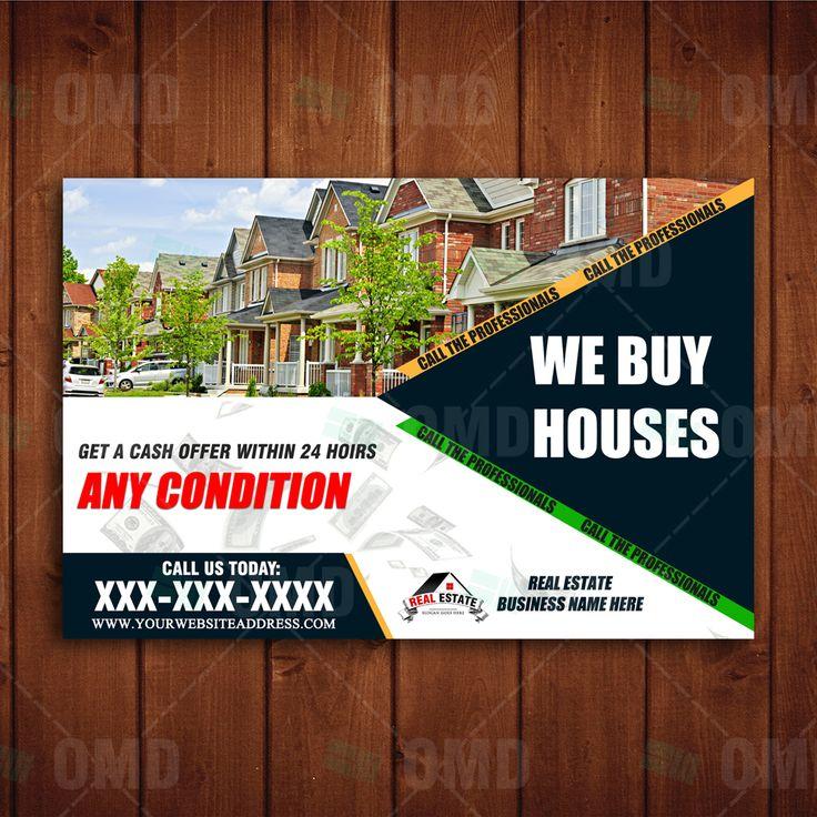 We Buy Houses Marketing Postcard Design #realestatemarketing