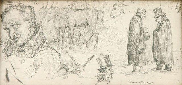 Tadeusz AJDUKIEWICZ (1852 - 1916)  Szkice - postaci, ptaków, osłów piórko, tusz, piórko naklejone na tekturę, 10,5 x 22 cm; sygn. p. d.: Tadeusz AjdukiewiczLarge_original_o000013