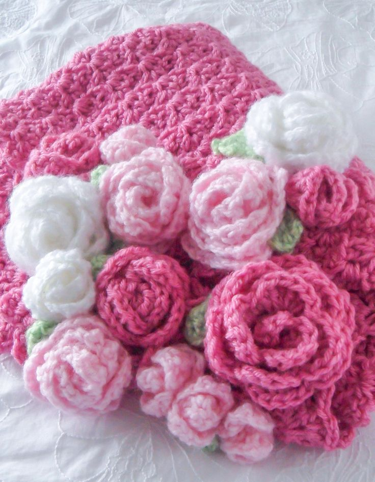 Crochet Baby Blanket Very Very Pink Flowers Baby por RosieOriginals