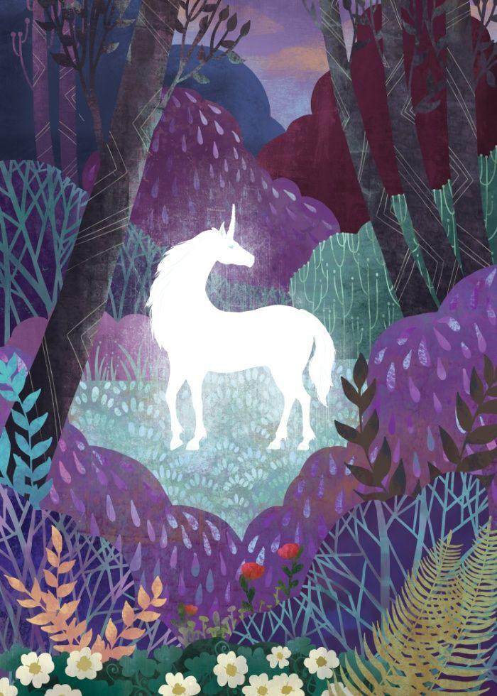 unicorn, the last unicorn, illustration, magic, fantasy, forest, purple, violet