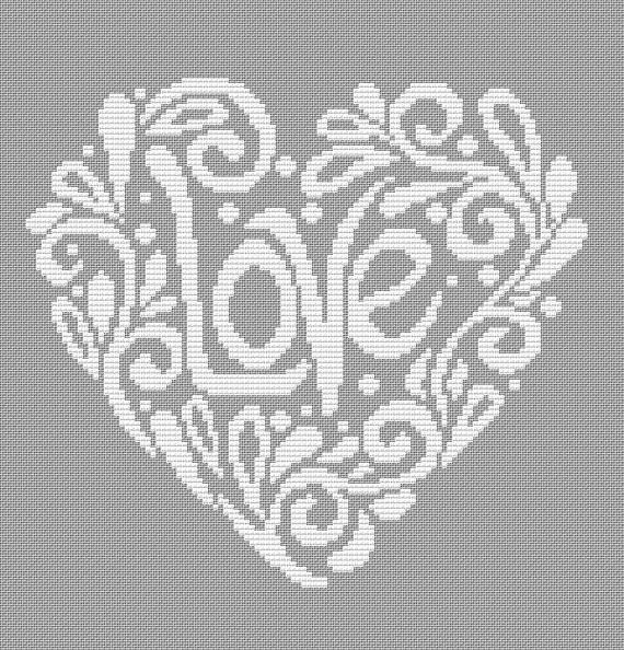 Hearth love contemporarry cross stitch pattern. Valentines