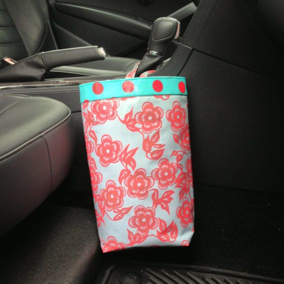 Car Bag Ty Pennington Laminated Asian Floral Persimmon,  Car Bag, Women, Car Litter Bag, Car Accessories, Car Caddy, Car Trash Bag