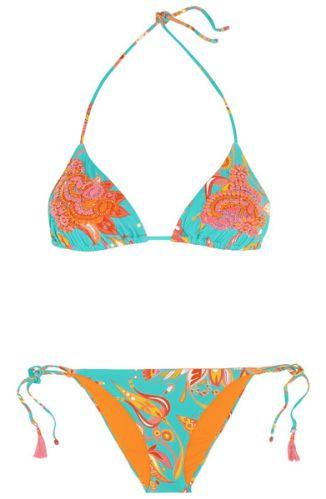 Bikini triangle turquoise à fleurs jaunn, orange, rouge, brodé de strass orange et rose, Emamó