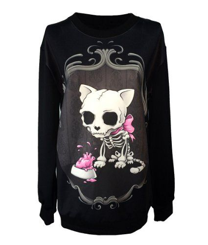 Gothic Clothing Sweatshirts Skull Cat Clothing from Aleksandra Marchocka