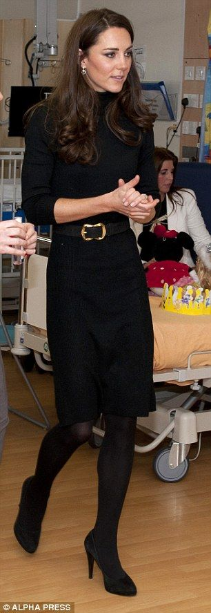 Kate in black during a hospital visit