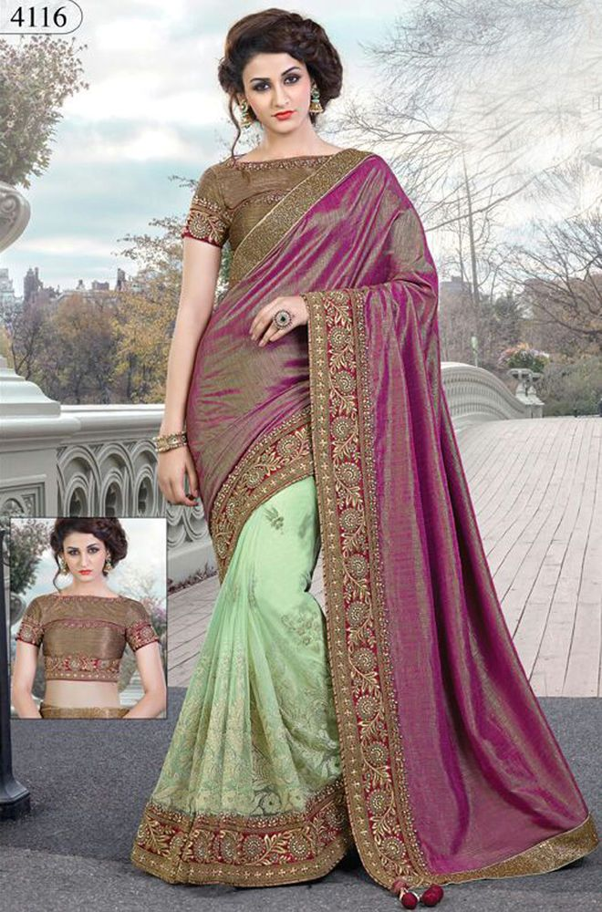 Wedding bridal sarees Indian ethnic designer saree blouse with heavy embroidery #Handmade #sareesari