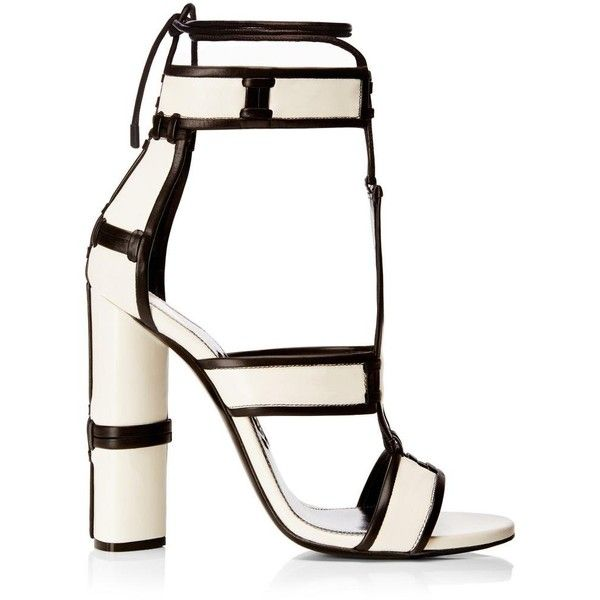 TOM FORD Patchwork Sandal ($200) ❤ liked on Polyvore featuring shoes, sandals, ankle wrap sandals, high heel ankle strap shoes, tom ford, leather sole shoes and tom ford shoes