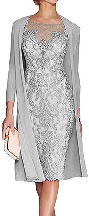 d410d7c3e1a94 APXPF Women's Mother Of The Groom Dresses Tea Length With Jacket (Custom  Made, Grey) at Amazon Women's Clothing store: