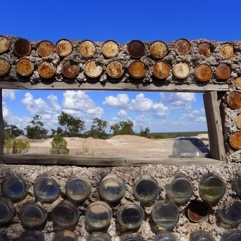 House made from tin cans near the first opal mine found at Lightning Ridge-opal diggings through the window