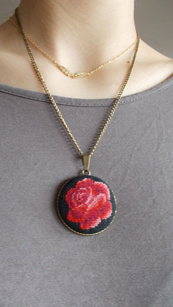 Red rose Necklace with chain by DoriArt on Etsy