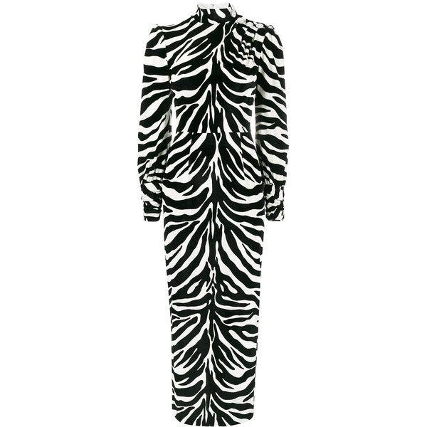 Alessandra Rich high neck velvet zebra print dress ($2,368) ❤ liked on Polyvore featuring dresses, black, zebra striped dresses, high neck velvet dress, high-neck dresses, alessandra rich and high neckline dress