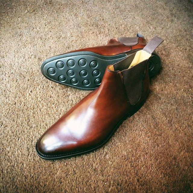 Edward Green, Camden boot in Dark Oak Antique and Dainite soles. MTO #Padgram