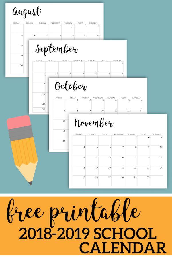 photograph regarding Printable School Calendar named 2018 2019 Printable Higher education Calendar Everyday living with Little ones