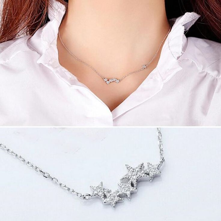 Hot Sale New Arrival 925 Sterling Silver Jewelry Temperament Aesthetic Small Stars Zircon Pendant  Necklace Anti-allergic H54 #Affiliate