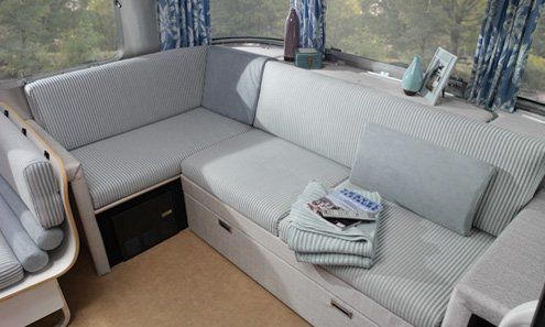 Small Space Bedroom Ideas from Airstream   seating area from the International Ocean Breeze Model   upholstery colors