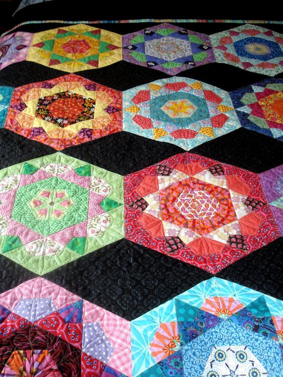 Double Quilt in Hexigon Design by uniquelynancy on Etsy, $900.00