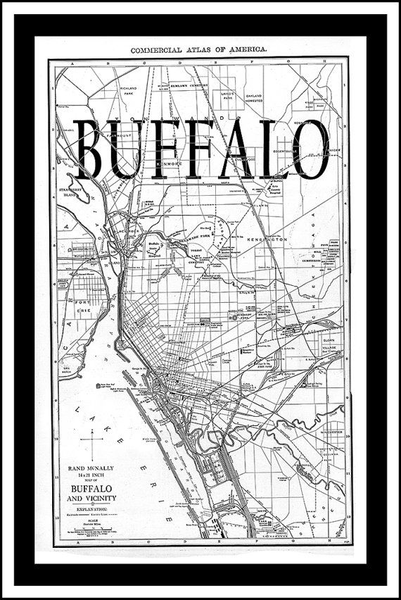 Buffalo Map.  Vintage Map of Buffalo New York. City Maps on Synthetic Canvas, Huge map on Etsy, $30.00