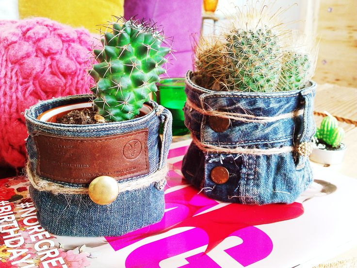 I've made this two casings in a boho and vintage style. Made of used jeans trousers!