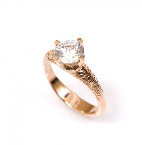 Gorgeous hand engraved engagement ring from Love and Hatred
