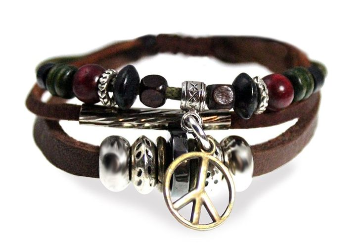 Peace Drop Beaded Leather Zen Bracelet, Adjustable, in Gift Box >> You can get more details here : Jewelry