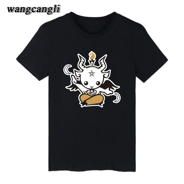Fair price 2017 New Summer Style Satanic Goat palace t shirt cartoon T Shirt Men cotton short sleeve Printed T-shirt Brand men t shirt just only $8.02 with free shipping worldwide  #tshirtsformen Plese click on picture to see our special price for you