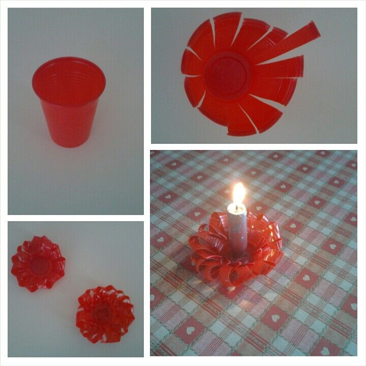 Portacandele natalizio fatto con bicchieri di plastica rossi e candela spero vi piacer - Portacandele natalizi fai da te ...
