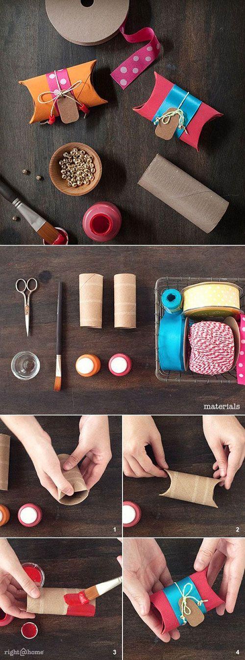 Idea para envolver regalos. Hacer cajitas con rollos de papel higienico