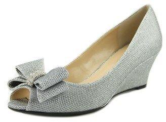 J. Renee Blare Women Open Toe Canvas Silver Wedge Heel.