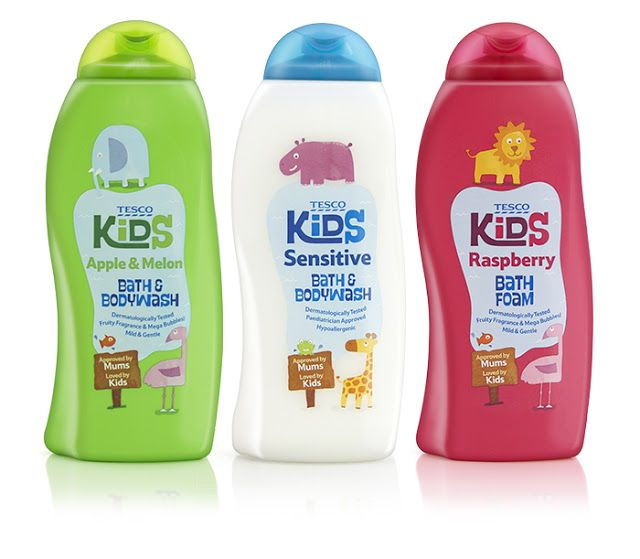 Tesco Kids Toiletries. Designed by R Design London, United Kingdom. Font in use: Swung Note by PintassilgoPrints