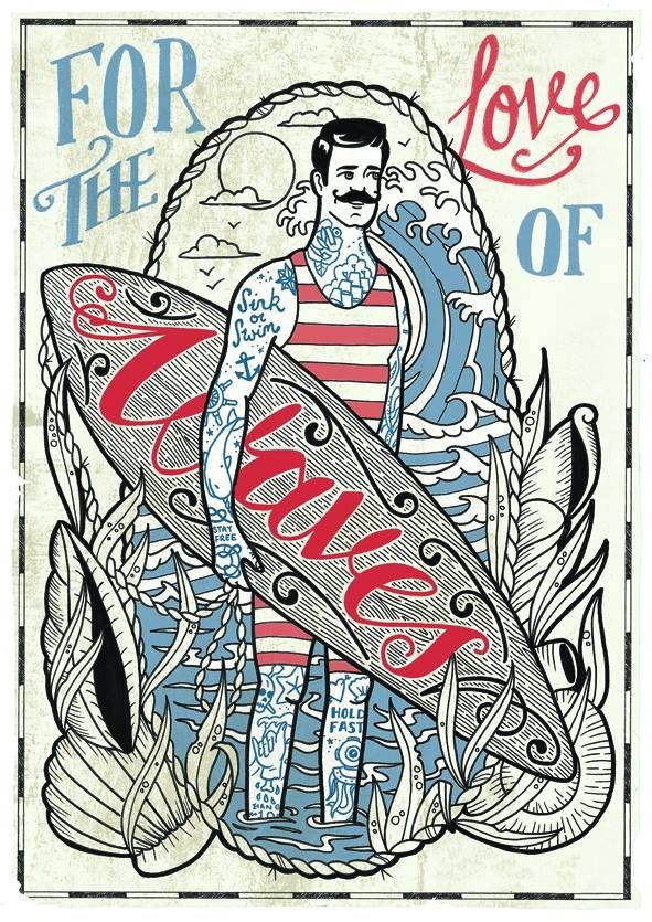 retro surf poster, so retro it's styled before we had surfers