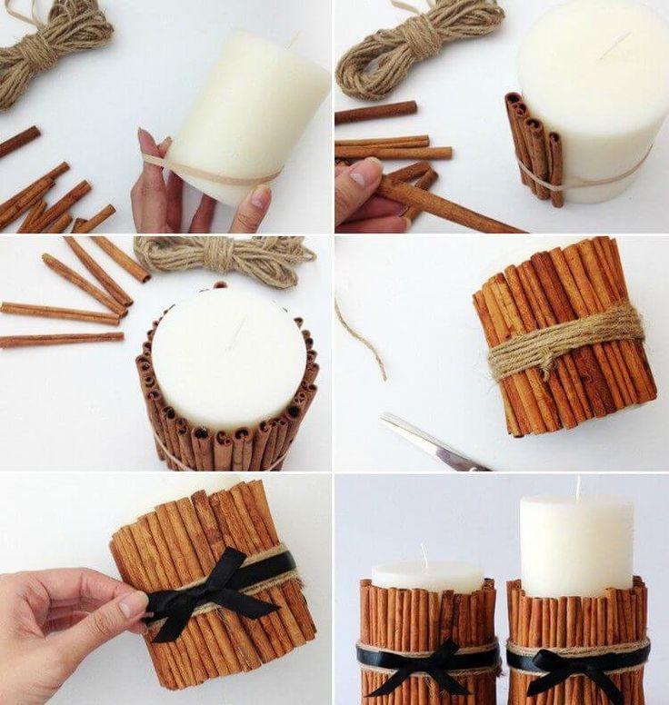 Bastelideen für DIY Geschenke zu Weihnachten, Kerzen mit Zimtstangen selber mac...
